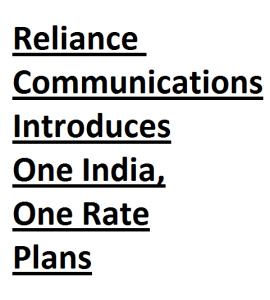 One India One Rate Plans for PostPaid and Prepaid
